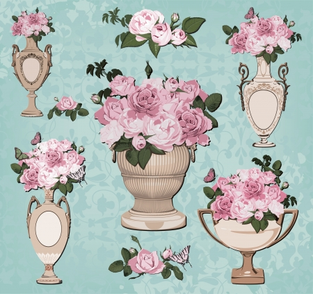 collection of vases, roses on blue background Vector