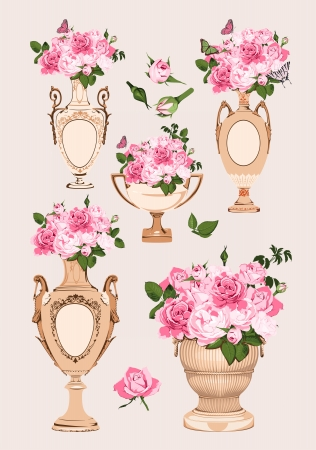 roses in vase: collection of vases, roses on pink background