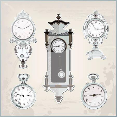 mantel: set of many vintage retro clocks