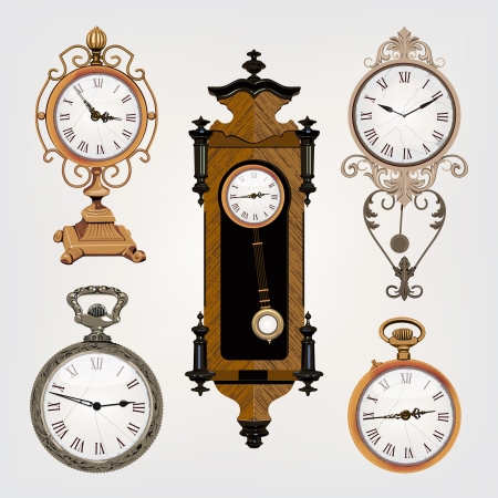conjunto de relojes de época Ilustración de vector