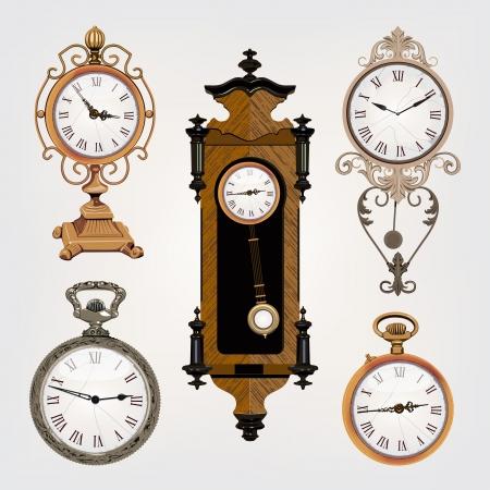 Satz von Vintage Uhren Vektorgrafik