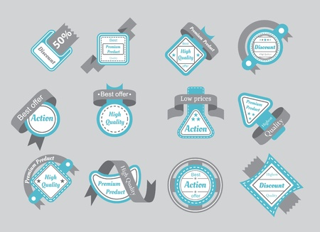 top 50 icon: set of cyan seals with gray ribbons