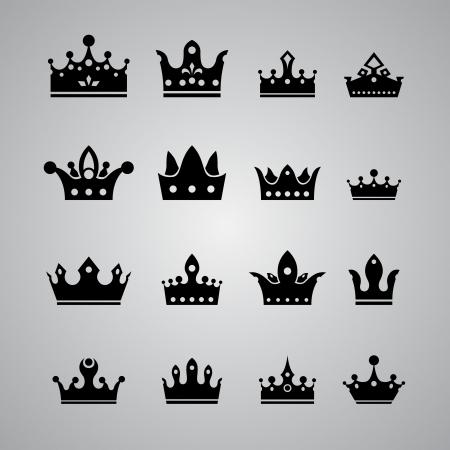 corona de rey: conjunto de diferentes coronas