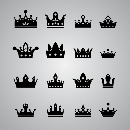 medieval king: set of different crowns