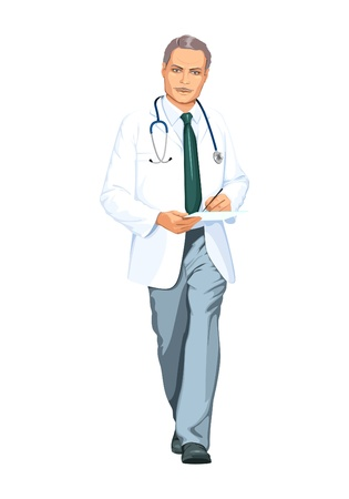 heals: doctor in a white coat Illustration
