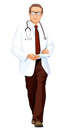 surgeon: doctor with stethoscope Illustration