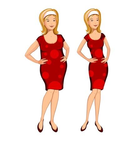 mujer gorda: Mujer gorda y delgada Vectores