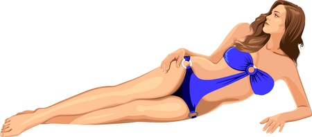 sunbathing: beautiful girl in blue bikini Illustration