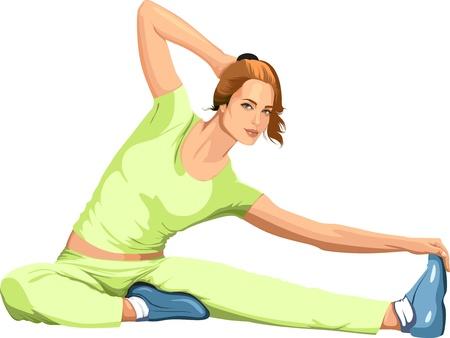 girl engaged in sports stretching  Vector