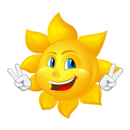 blue-eyed smiling sun Vector