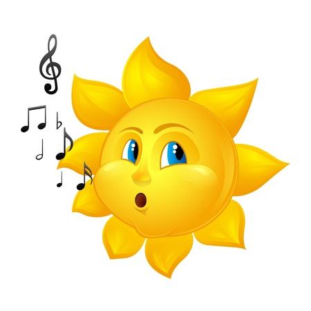 cartoon sun blowing notes
