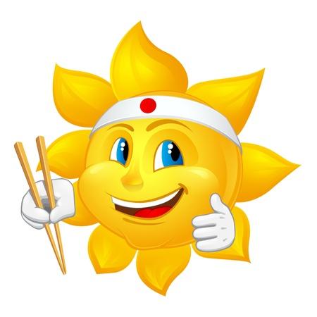 fascia: japan sun with chopsticks Illustration