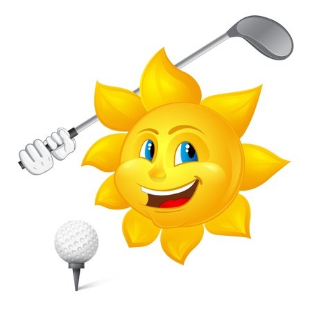 blue-eyed sun is playing golf Vector
