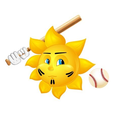 soleil de bande dessinée jouant au baseball Vecteurs