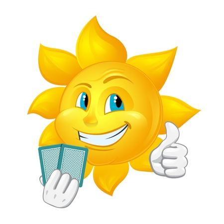 blackjack: cartoon sun is playing blackjack Illustration