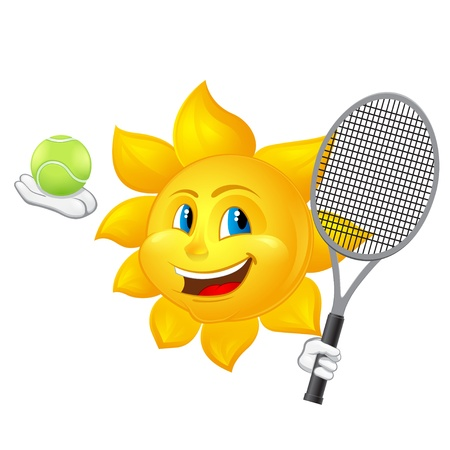 cartoon sun is playing tennis Vector