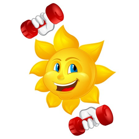 cartoon sun with dumbbells Vector