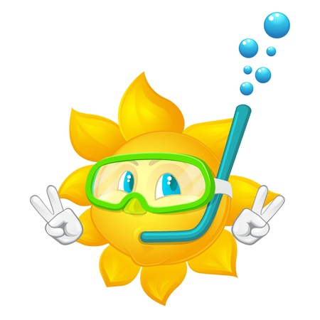 snorkel: cartoon sun with mask and  snorkel