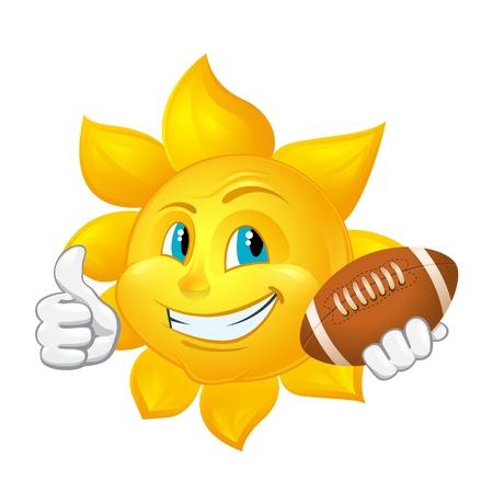 cartoon sun: sol de la historieta con la bola de rugbi