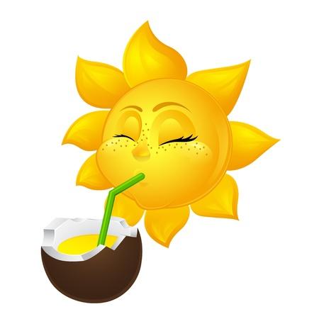 closed eyed sun drinks coconut juice Vector
