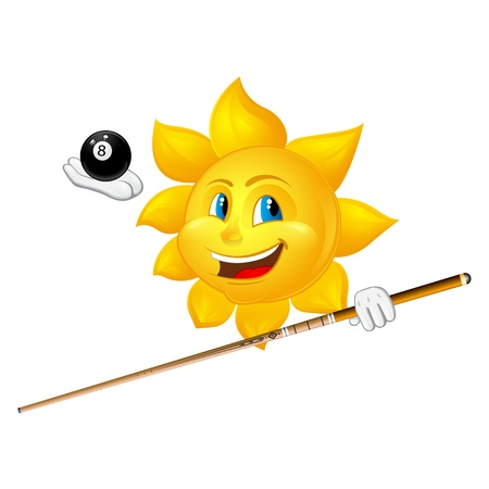 cue sports: smiling sun is playing billiards