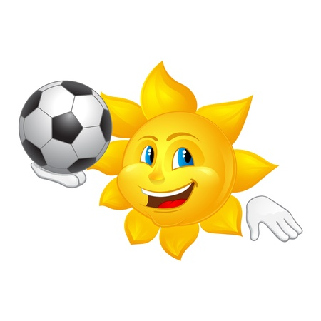 sun is playing football Vector