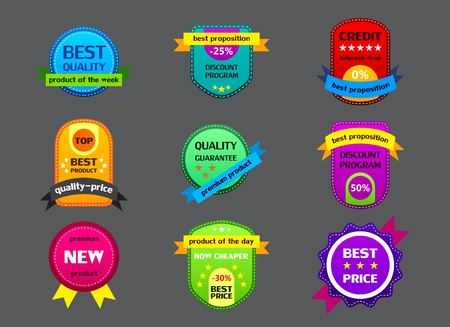 high five: collection of color labels on gray background