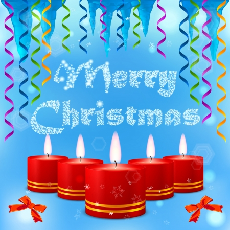 Festive image of burning candles on the background of the inscription Merry Christmas Vector