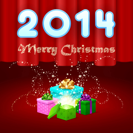 Magic gifts on stage, merry christmas, 2014, red background, curtain Vector
