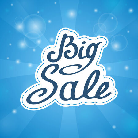 Samples in words Big Sale on blue background and light rays Vector
