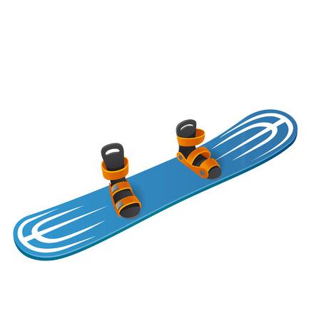 Blue snowboard isolated on white background Illustration