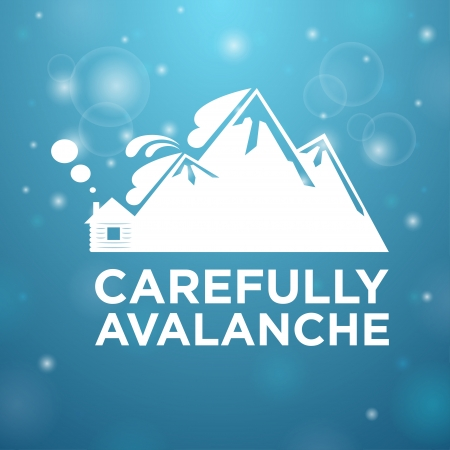 avalanche: Carefully avalanche on house blue background