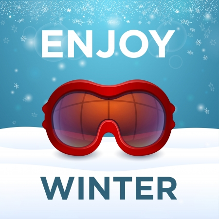 Enjoy winter outside red ski goggles cluse-up and snow Stock Vector - 25200348