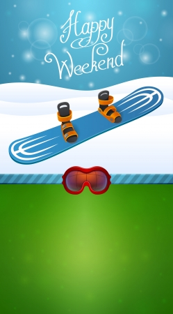 Heppy winter weekend blue snowboard and ski goggles Stock Vector - 25200351