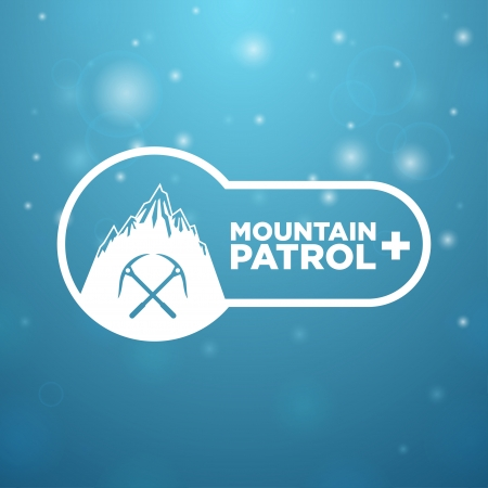 mountain patrol on blue background Vector