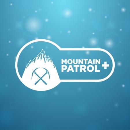 nordic ski: mountain patrol on blue background