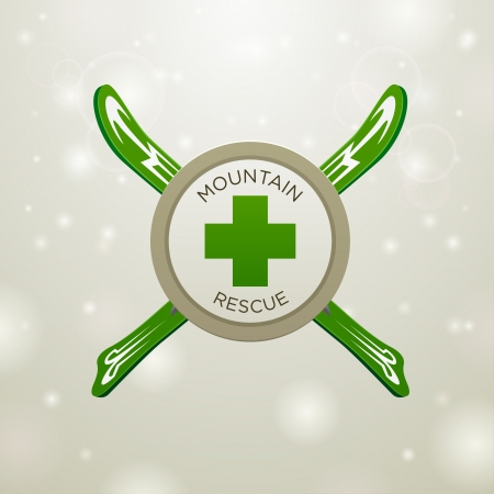 mountain rescue on white snow backgound Vector