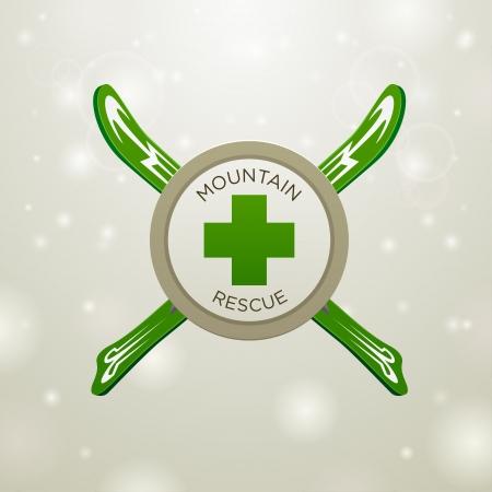 nordic ski:  mountain rescue on white snow backgound