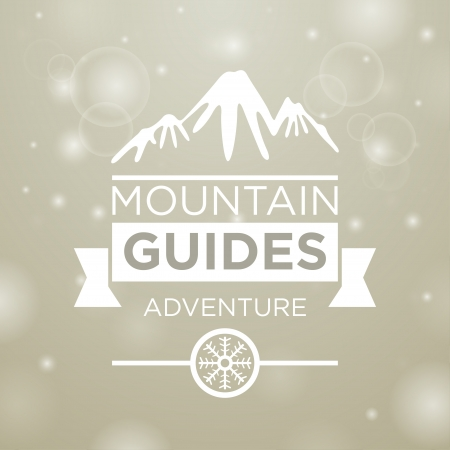 guides: Mountain guides adventure on gray and snow background