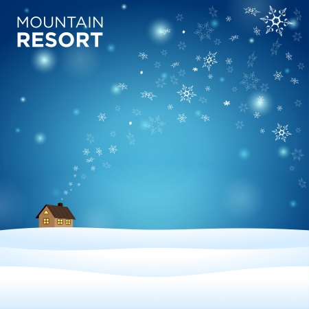 mountain resort alone hous on snow and blue background with snowflake Vector