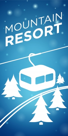 Mountain resort ropeway and spruce on blue background Vector