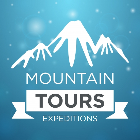 Mountain tours expedition on blue background with mountain