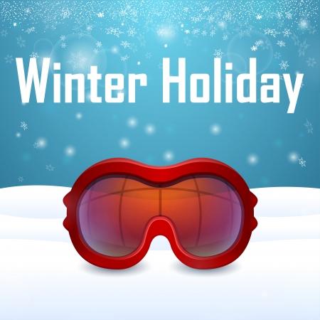 ski goggles: Outside close-up red ski goggles on snow