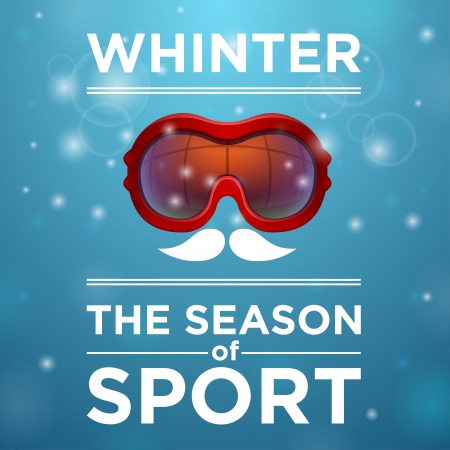 tinted: Red tinted ski goggles ou blue background, winter the season of sport