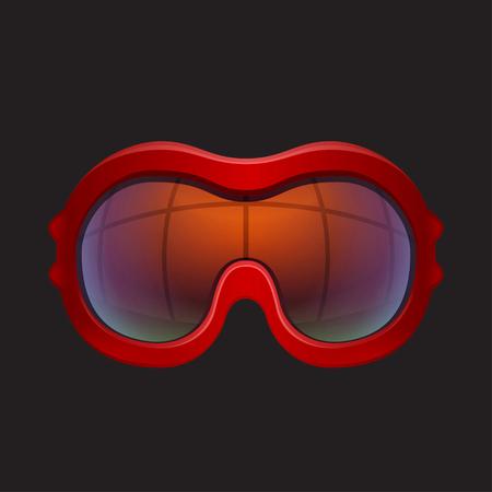 ski goggles: Close-up red tinted ski goggles