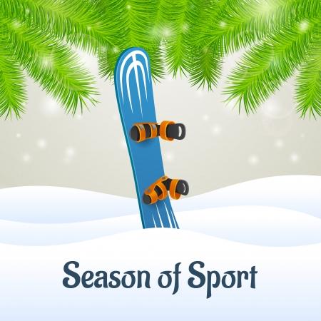 Season of sport outside close-up blue snowboard Illustration