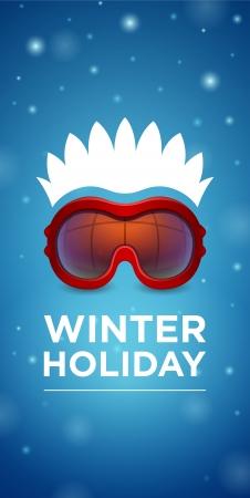 winter holiday: Sci occhiali Vacanza invernale e acconciatura su sfondo blu