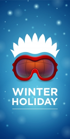 ski goggles: Winter holiday ski goggles and hairstyle on blue background