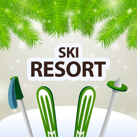 ski resort: Ski resort skiing and poles on snow background
