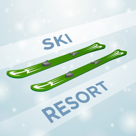 Ski resort skiing in motion on white snow background Vector